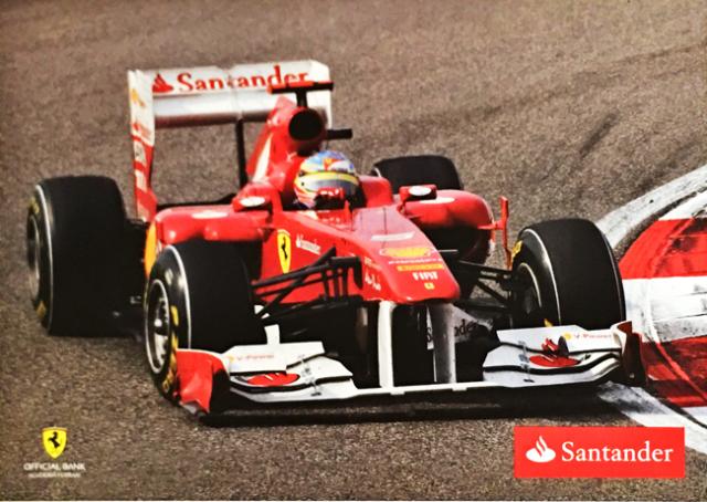 2011 フェラーリ スポンサー Santander(サンタンデール) プロモーションカード F.アロンソ(A)