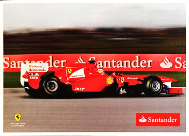 2011 フェラーリ スポンサー Santander(サンタンデール) プロモーションカード F.アロンソ(B)