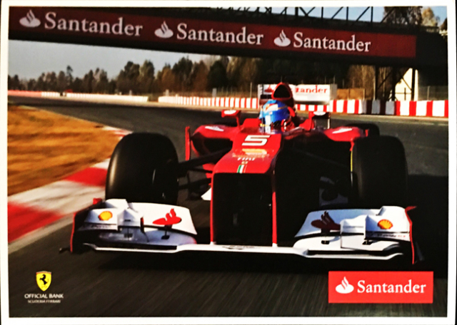 2012 フェラーリ スポンサー Santander(サンタンデール) プロモーションカード F.アロンソ(A)
