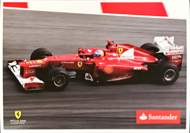 2012 フェラーリ スポンサー Santander(サンタンデール) プロモーションカード F.アロンソ(B)