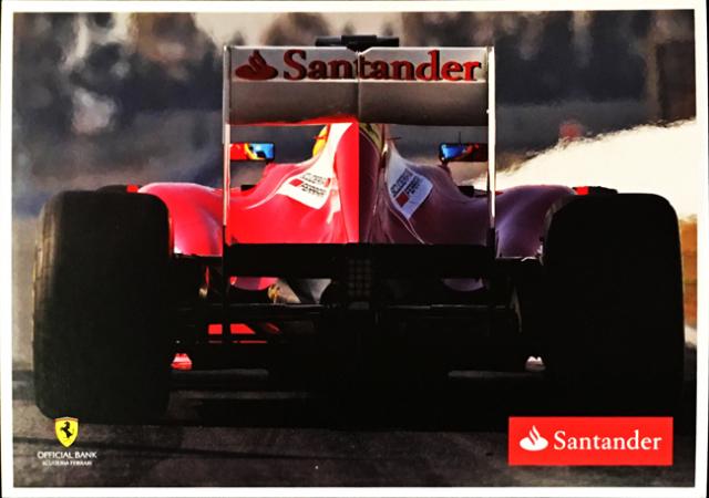 2012 フェラーリ スポンサー Santander(サンタンデール) プロモーションカード F.アロンソ(C)
