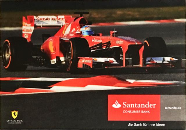 2013 フェラーリ スポンサー Santander(サンタンデール) プロモーションカード F.アロンソ(A)