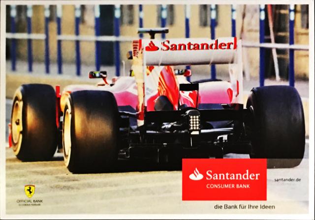 2013 フェラーリ スポンサー Santander(サンタンデール) プロモーションカード F.アロンソ(B)