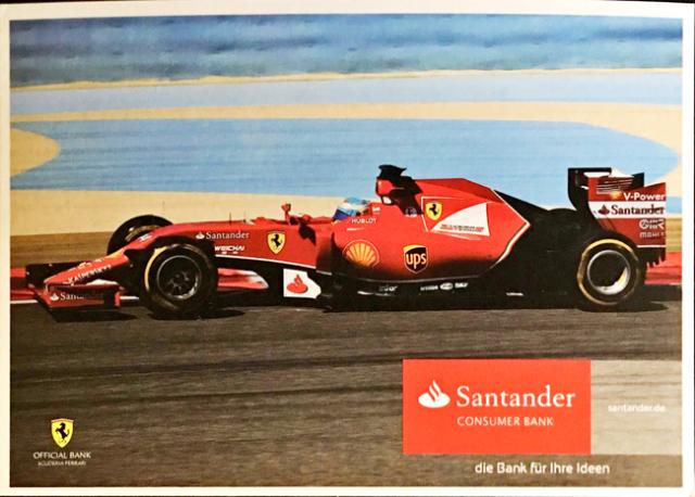 2014 フェラーリ スポンサー Santander(サンタンデール) プロモーションカード F.アロンソ(A)