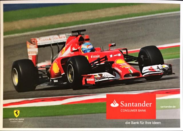2014 フェラーリ スポンサー Santander(サンタンデール) プロモーションカード F.アロンソ(B)