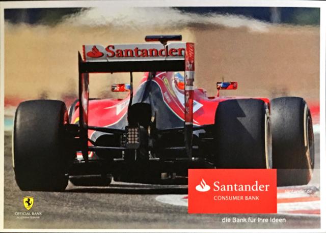 2014 フェラーリ スポンサー Santander(サンタンデール) プロモーションカード F.アロンソ(C)
