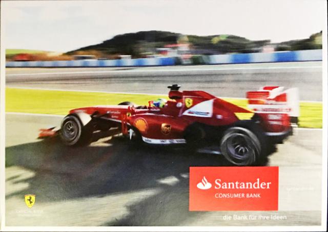 2013 フェラーリ スポンサー Santander(サンタンデール) プロモーションカード F.マッサ