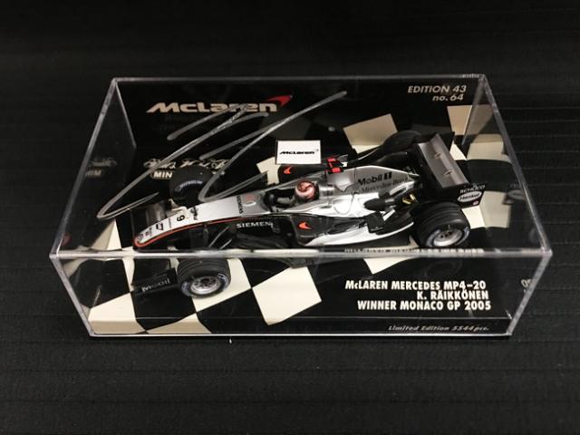 K.ライコネン直筆サイン入 ミニチャンプス 1/43 マクラーレン MP4-20 2005年モナコGP優勝モデル