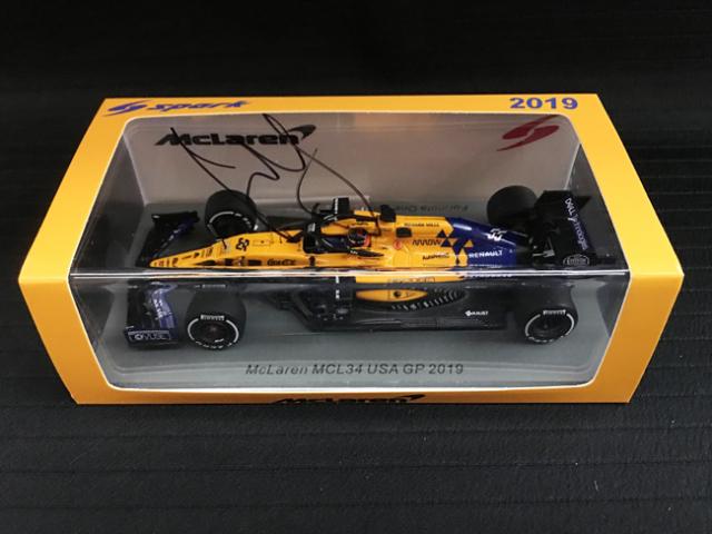 C.サインツJr直筆サイン スパーク 1/43 マクラーレンMCL34 2019年 USA-GPモデル