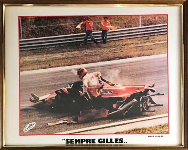 【SALE】ジル・ビルニューブ イモラ 1980.4.13 フォトグラフカード 額装品