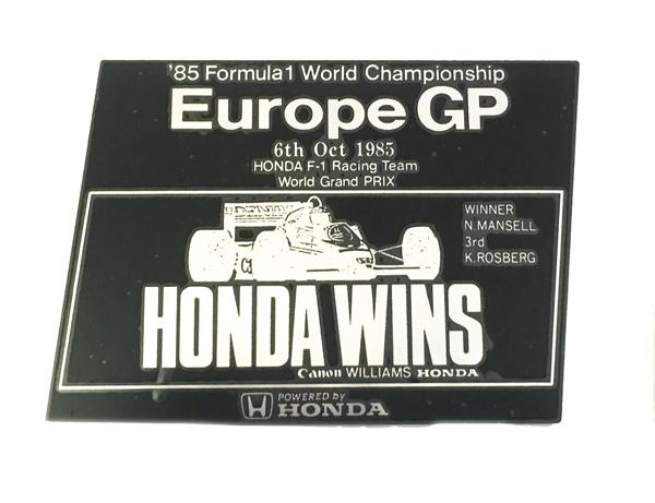 HONDA F1 1985 ヨーロッパGP優勝記念 プロモーション メタルステッカー