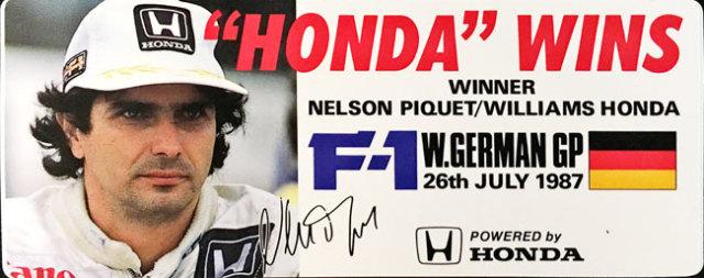 HONDA ウィリアムズ ホンダ F1 1987年ドイツGP ピケ優勝 記念プロモーションステッカー