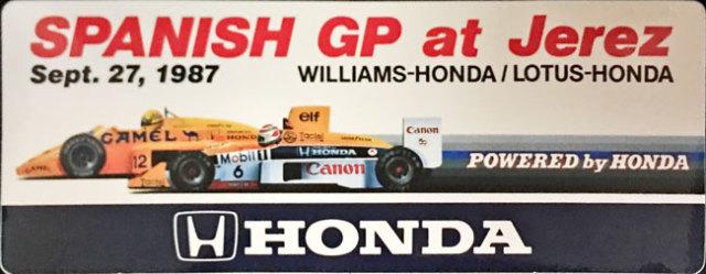 HONDA ホンダ F1 1987年スペインGP プロモーションステッカー