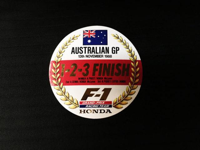 HONDA マクラーレン ホンダ F1 1988年 オーストラリアGP プロスト・セナ・ピケ 1~3フィニッシュ記念プロモーションステッカー