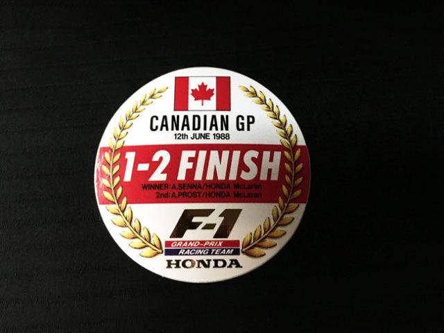HONDA マクラーレン ホンダ F1 1988年 カナダGP セナ&プロスト 1~2フィニッシュ記念プロモーションステッカー