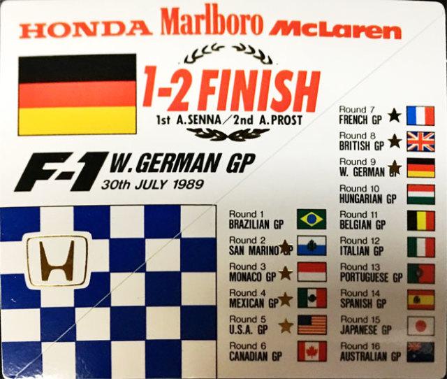 HONDA マクラーレン ホンダ F1 1989年ドイツGP セナ&プロスト1~2フィニッシュ記念プロモーションステッカー