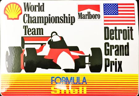 マールボロ(Marlboro)&シェル(Shell) 1990年代 プロモーションステッカー(デトロイトGP)  サイズ 縦8×横12.5cm