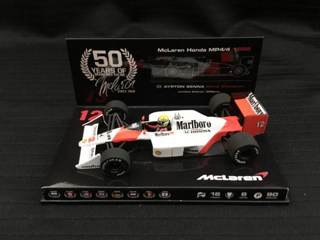 1/43 マクラーレン50周年別注モデル マクラーレンMP4/4 A.セナ 1988年 当店オリジナルタバコロゴモデル