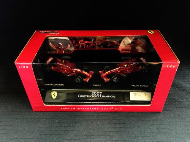 マテル 1/43 フェラーリ F2007 K.ライコネン&F.マッサ コンストラクターズチャンピオン獲得記念 2台セット 当店オリジナルタバコロゴモデル