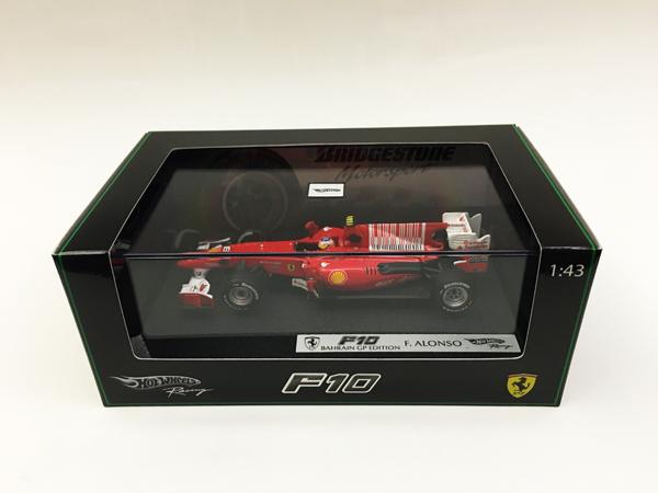 絶版品 ブリヂストン別注 マテル 1/43 フェラーリ F10 F.アロンソ ブリヂストン(パッケージ