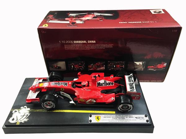 マテル 1/18 フェラーリ 248F1 M.シューマッハ 2006年中国GP 91勝記念モデル 当店オリジナルタバコロゴモデル