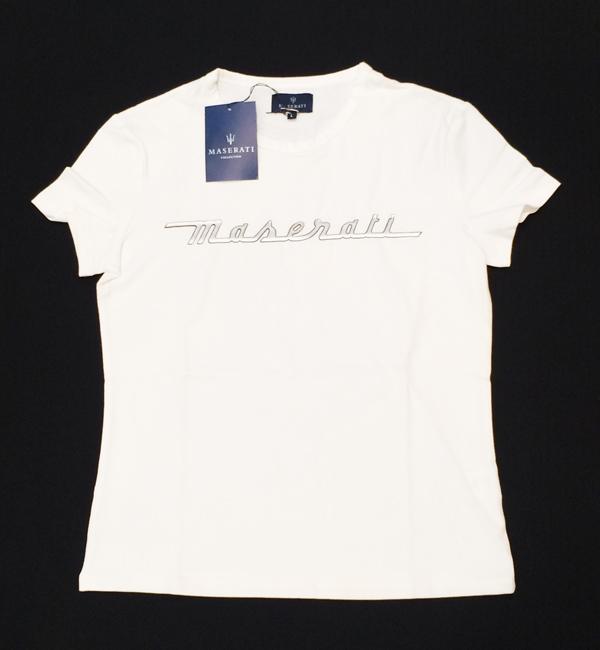マセラティ レディース ロゴTシャツ ホワイト (サイズL)