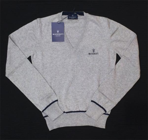 マセラティ レディース Vネック セーター グレー (サイズS ・ M ・ L)