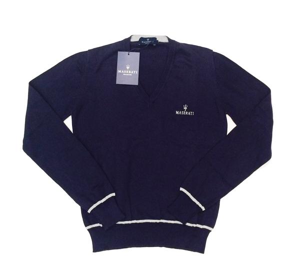 マセラティ レディース Vネック セーター ネイビー (サイズS・M)