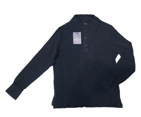 マセラティ エクスクルーシブ ロングスリーブ メンズポロシャツ ネイビー S(日本サイズM)