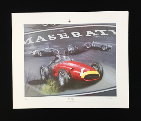 【SALE】J・M・ファンジオ&マセラティ250F F1ワールドチャンピオン50周年記念リトグラフ