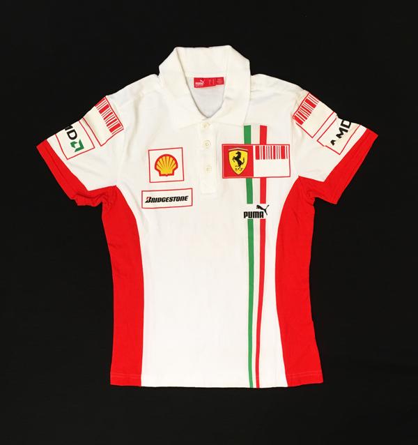 2007 フェラーリ チーム支給品 レディース用ピットポロ バーコードバージョン USED レディースサイズM PUMA製