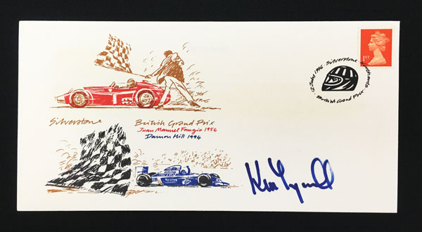 【オートグラフフェアー対象】【SALE】ケン・ティレル 直筆サイン入切手 1996年 イギリスGP開催記念   シルバーストン郵便局発行 限定初日カバー