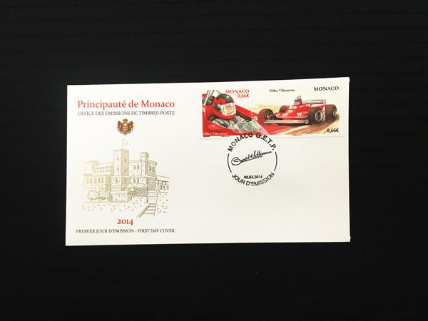 モナコ政府 2014年発行 ジル・ビルニューブ 追悼記念切手 初日カバー(FDC)