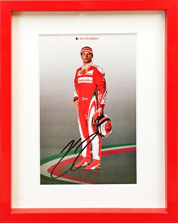 【再入荷】K.ライコネン直筆サイン入 2016 フェラーリ K.ライコネン ドライバーズカード(額装品)