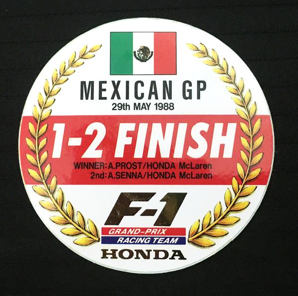 マクラーレン ホンダ  1988年 メキシコGP 1-2フィニッシュ プロモーション ステッカー