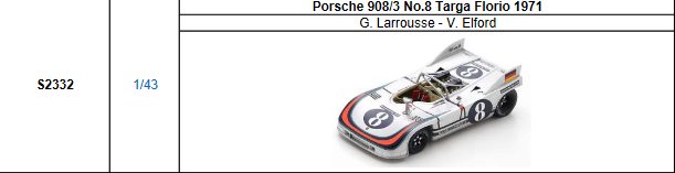 【2021年7月発売予定ご予約商品4/21締切】S2332 1/43 ポルシェ 908/3 No.8 TargaFlorio 1971 G.Larrousse-V.Elford