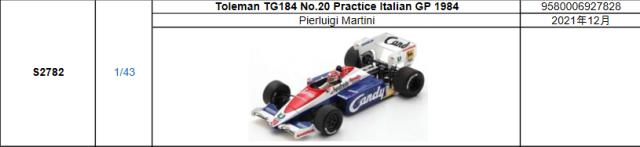 【2021年12月発売予定ご予約商品9/23締切】S2782 1/43 トールマン TG184 P.マルティニ 1984年イタリアGPプラクティス No.20 予価:税込¥8980