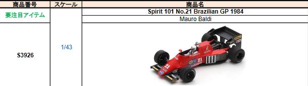 【2021年8月発売予定ご予約商品4/21締切】S3926 1/43 スピリット 101 M.バルディ 1984年ブラジルGP No.21
