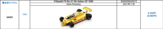 【スパーク(S4581)2021年11月発売予定ご予約商品8/9締切】1/43 フィッティパルディ F8 K.ロズベルグ 1980年イタリアGP5位 No.21 予価:税込¥8980