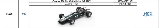 【スパーク(S5298)2021年11月発売予定ご予約商品8/9締切】1/43 クーパー T86 J.リント 1967年イタリアGP4位 No.30 予価:税込¥8980