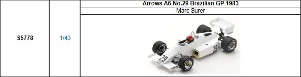 【2021年8月発売予定ご予約商品4/21締切】S5778 1/43 アローズ A6 M.スレール 1983年ブラジルGP No.29