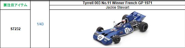 【2021年9月発売予定ご予約商品4/21締切】S7232 1/43 ティレル003 J.スチュワート 1971年フランスGP優勝 No.11