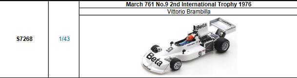 【2021年8月発売予定ご予約商品4/21締切】S7268 1/43 マーチ 761 V.ブランビラ 1976International Trophy2位 No.9
