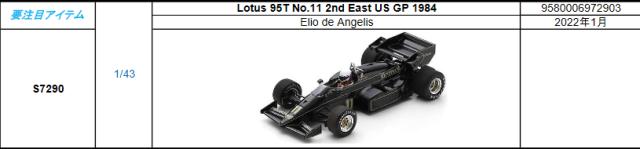 【2022年1月発売予定ご予約商品9/23締切】S7290 1/43 ロータス95T E.アンジェリス 1984年East US GP2位 No.11 予価:税込¥8980