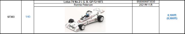 【スパーク(S7303)2021年11月発売予定ご予約商品8/9締切】1/43 ロータス 74 R.ピーターソン 1973年 I. G. B. GP F2 No.2 予価:税込¥8980