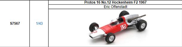 【2021年9月発売予定ご予約商品4/21締切】S7567 1/43 プロトス 16 Eric Offenstadt 1967F2 Hockenheim No.12