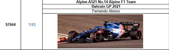 【スパーク(S7664)2021年7月発売予定ご予約商品5/5締切】1/43 アルピーヌ A521 F.アロンソ  2021年バーレーンGP No.14 予価:税込¥8980