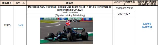 【スパーク(S7683)2021年12月発売予定ご予約商品8/9締切】1/43 メルセデスW12 L.ハミルトン 2021年イギリスGP優勝(Figurine holding British flag) No.44 予価:税込¥9350