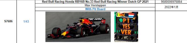 【スパーク(S7686)2022年1月発売予定ご予約商品10/3締切】1/43 レッドブル・ホンダ RB16B M.フェルスタッペン 2021年オランダGP優勝 With Pit Board No.33  予価:税込¥9350
