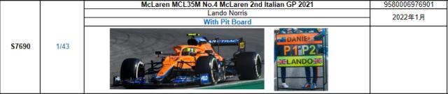 【スパーク(S7690)2022年1月発売予定ご予約商品10/3締切】1/43 マクラーレン MCL35M L.ノリス 2021年イタリアGP2位 With Pit Board No.4 予価:税込¥9350